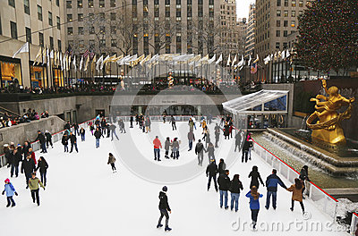 Lower Plaza of Rockefeller Center with ice-skating rink and Christmas tree in Midtown Manhattan