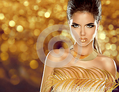 Fashion Beauty Girl Isolated on golden bokeh Background. Makeup.