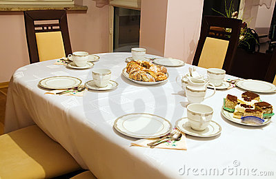 Set table for tea and coffee time