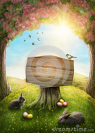 stock image of magic spring forest