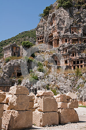 Lycian tombs in Myra, Demre, Turkey