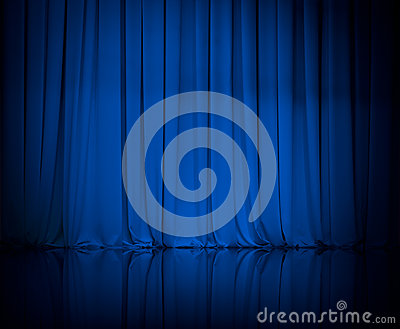 Curtain or drapes blue theater background