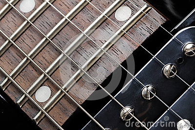 Electric guitar close-up. Neck and humbucker picku