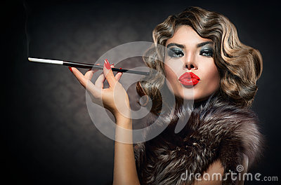 Retro Woman with Mouthpiece