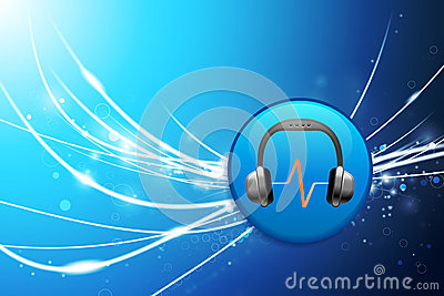 Headphones Button on Blue Abstract Light Background