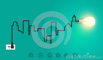 Vector cityscape with creative wire light bulb ide