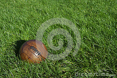Vintage Brown Football Soccer Ball Green Grass Field