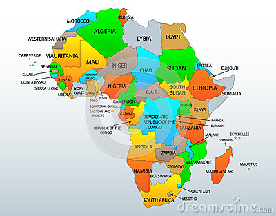 Political and location map of African continent countries ...