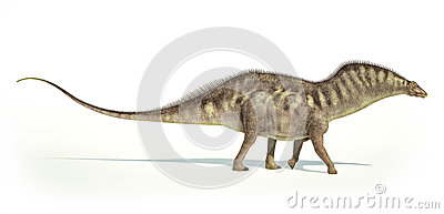 Photorealistic representation of an Amargasaurus dinosaur. Side