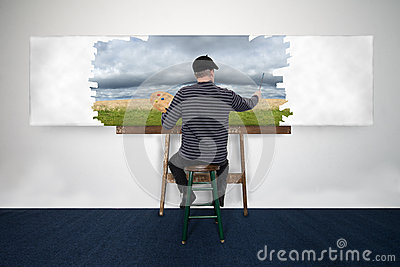 Artist and Painter Paint Oil Painting Landscape on White Canvas