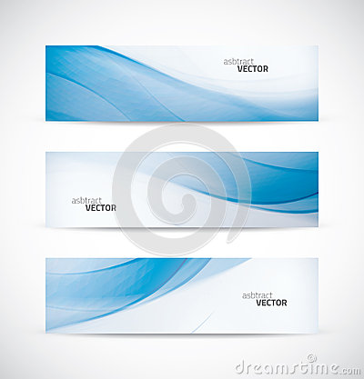 Three abstract blue business wave banner header ba