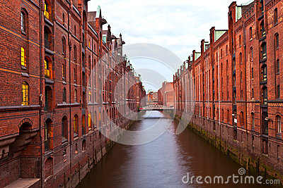 stock image of historic speicherstadt (warehouse district) in hamburg