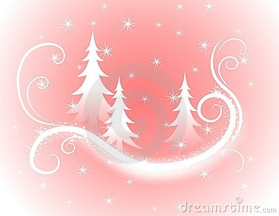 Decorative Pink Christmas Trees Background