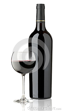 Red glass and bottle wine