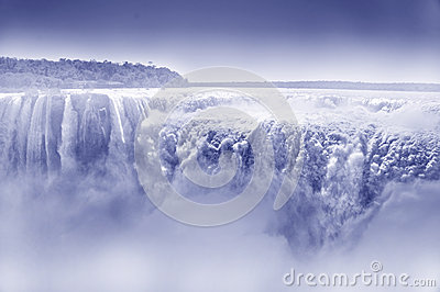 Iguazu waterfall with vapour