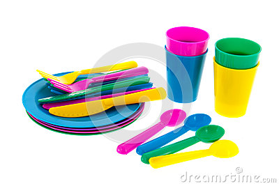 Colorful plastic crockery