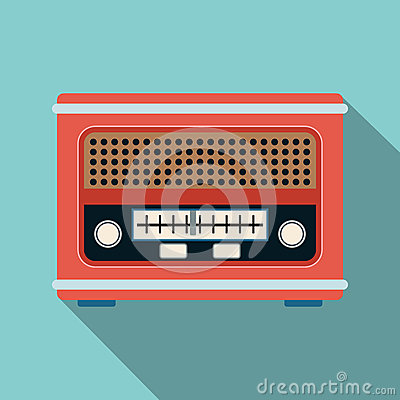 Retro radio receiver flat vector illustration