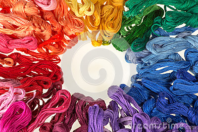 Skeins of colored threads for embroidery - muline