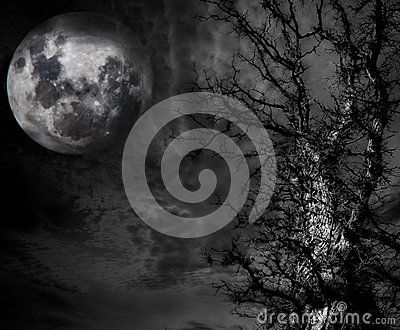 Abstract Spooky Tree and moon