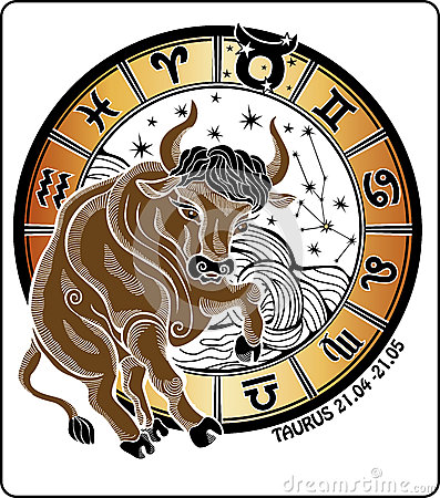 Taurus and the zodiac sign.Horoscope circle. Vecto