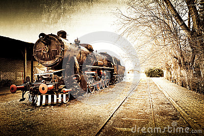 Retro vintage old train background