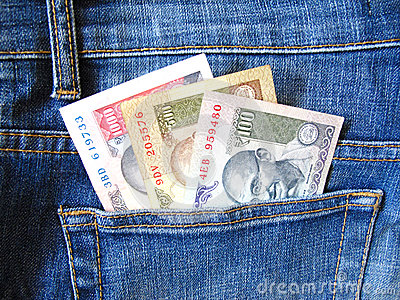 Indian currency in jeans pocket