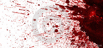 Red blood stain on white