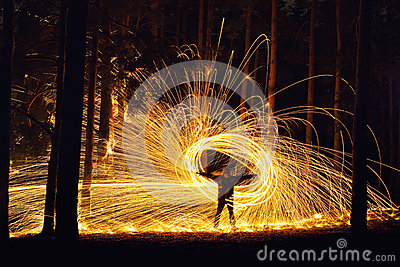 Man and fire orb