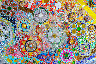 Colorful mosaic art and abstract wall background.