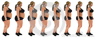 Fat to slim woman weight loss transformation profile shot