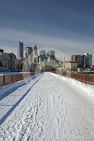 Snow on the Stone Arch Bridge, Minneapolis, Minnesota, USA