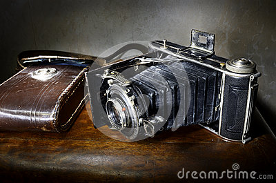 Antique bellows camera with original leather case