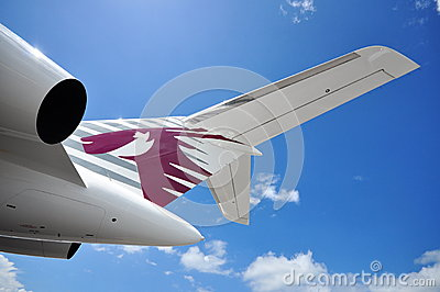 Tail and rear wing of Qatar Executive Bombardier Global 5000 business jet on display at Singapore Airshow 2012