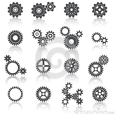 Cogs Wheels and Gears Icons Set