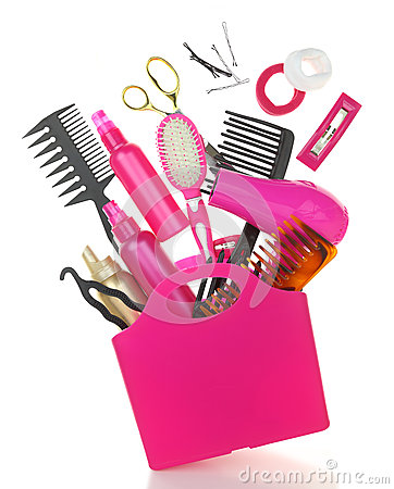 Various hairstyling equipment in shopping bag