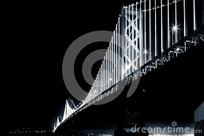San Francisco Bay Bridge at Night in Black and White