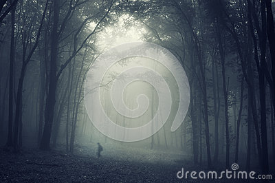 Shadow of man walking trough an eerie forest with fog