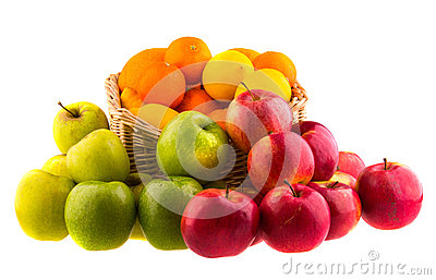 Oranges and lemons, red and green apples in a wooden basket
