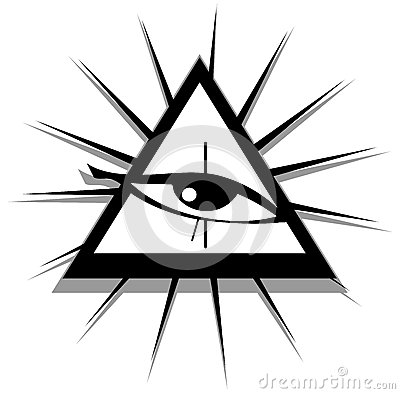 All Seeing Eye In Black And White Isolated