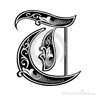 Garnished Gothic style font, letter T