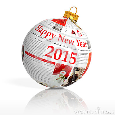 Newspaper happy new year 2015 ball