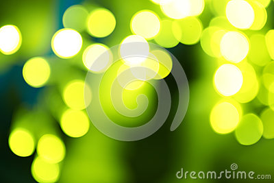 Holiday abstract green and yellow lights