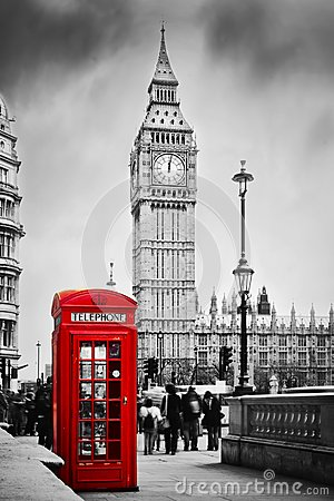 Red phone booth and Big Ben in London, England UK.