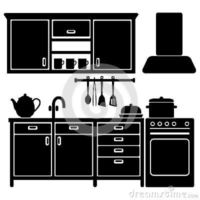 set of black kitchen icons utensils home icon vector black home icon vector images
