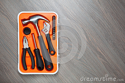 Orange tools box