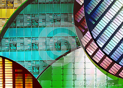 stock image of silicon wafers - electronics