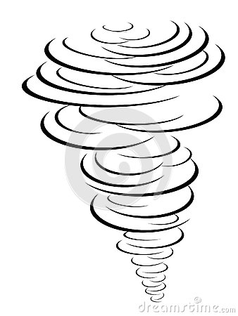 Isolated black tornado symbol from white background