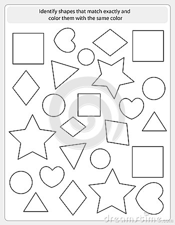 Kids worksheet match and color