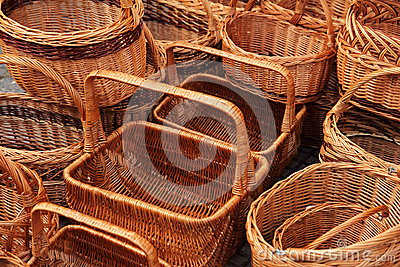 Wicker baskets on market
