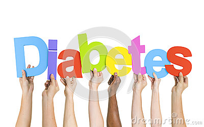 Multi-Ethnic Hands Holding The Word Diabetes